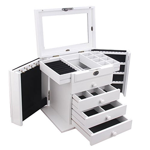 Extra Large Wooden Jewelry Box / Jewel Case Cabinet Armoire Ring Necklacel Gift Storage Box Organizer Mg002 (White)