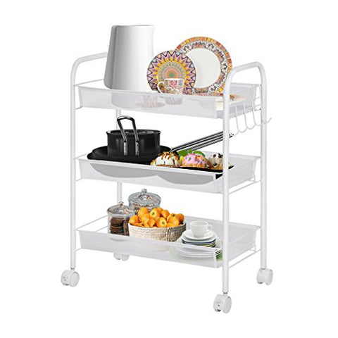 Langria 3-Tier Wire Mesh Rolling Cart For Serving Utility Organization Kitchen Cart With Portable Metal Handle Easy Moving Flexible Wheels, White