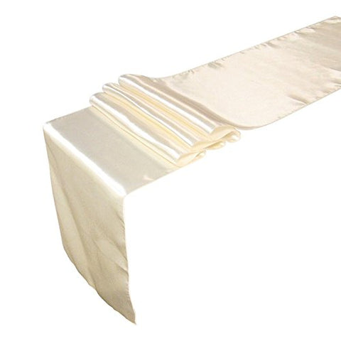 Ling'S Moment Satin Table Runners For Wedding Decoration, Bright Silk And Smooth Fabric Party Table Runners, 12 X 108 Inch, Ivory, Set Of 1