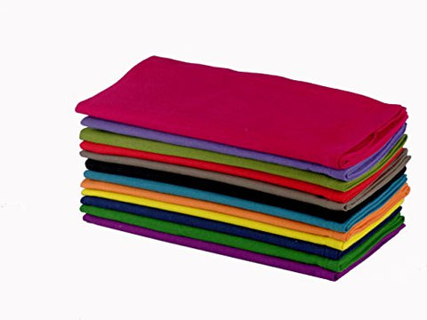 Cotton Craft Dinner Napkins - Multicolor - Pure 100% Cotton - 20X20 Oversized - Set Contains One Each Magenta, Lime, Ming Red, Stone, Black, Lavender, Grape, Orange, Teal, Navy, Mustard & Leaf