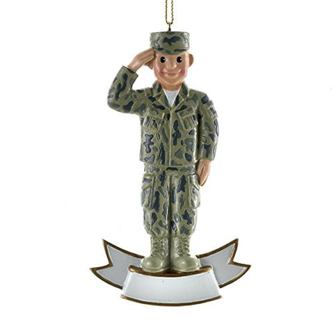 Personalized Ornament Male Army Soldier Salute Polyresin Patriotic Military Am2151