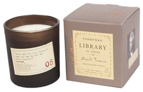 Paddywax Candles Library Collection Mark Twain Soy Wax Candle, 6.5-Ounce (Tobacco Flower And Vanilla)