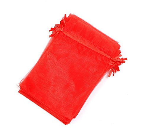 Kupoo Lot Of 50 4 X 6Drawstring Organza Pouch Strong Wedding Favor Gift Candy Bag (Red)