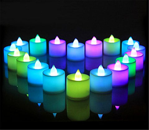 Led Tea Lights Candles  Flameless Flashing 7 Color Changing Tealight Candle  Battery Operated Electronic Fake Candles  Decoration For Party (Multi-Color)