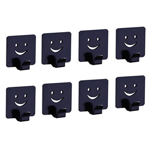 Labkiss Self Adhesive Hooks, Aluminum Alloy Creative Smiling Face Decorative Wall Mount Hook For Key Robe Cloth Coat Towel, Heavy Duty, Waterproof, For Bedroom Bathroom Kitchen Toilet Cabinet,