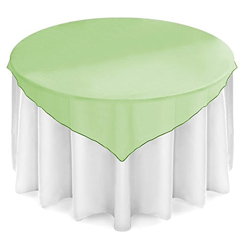 Lann'S Linens 72 Inch Square Organza Tablecloth Overlay - Wedding Banquet Party Decoration - Sage Green