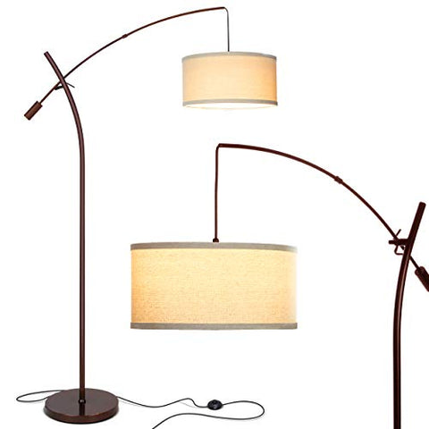 Brightech Grayson Led Arcing Floor Lamp- Tall Pole Standing Light For Living Room Den Office Bedroom  Adjustable Arm With Hanging Pendant Shade  Oil Brushed Bronze