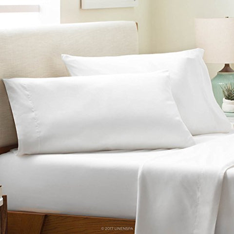 Linenspa Brushed Microfiber Ultra Soft Bed Sheet Set - Wrinkle Resistant - King Pillowcases - Set Of 2 - White