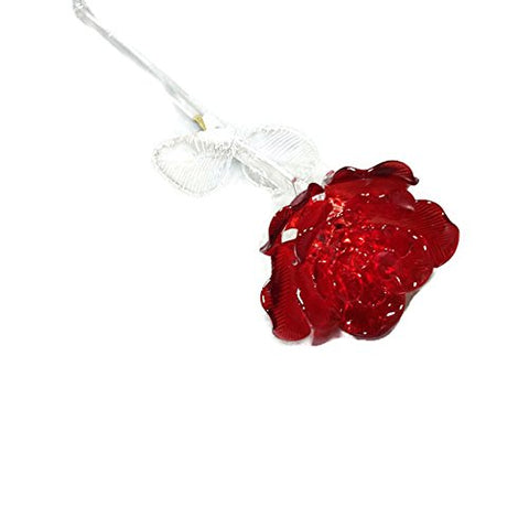 Waterford Crystal Gifts Fleurology 14.5 Colored Sculpted Glass Red Rose. Packaged In A Waterford Presentation Gift Box