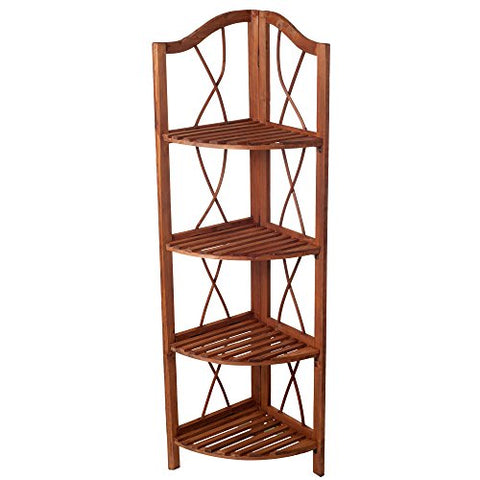 Lavish Home 4-Tier Wood Folding Corner Display Shelf