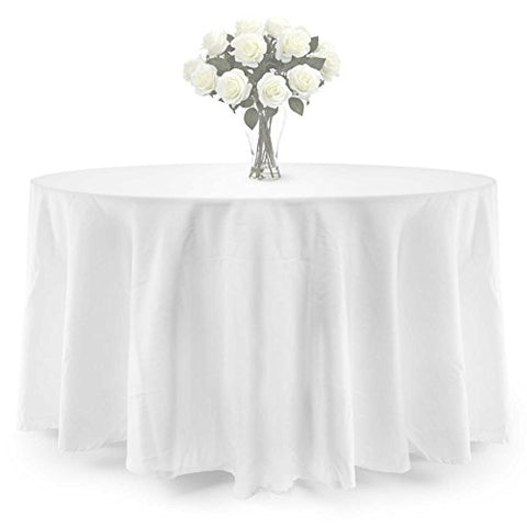 Lann'S Linens Premium Weight Polyester Tablecloth - For Wedding, Restaurant Or Banquet Use - 90 In. Round, White