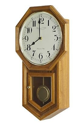 Sn Vintage Traditional Schoolhouse Wall Clock In Oak By Sterling And Noble 21  L X 12  W X 4  D