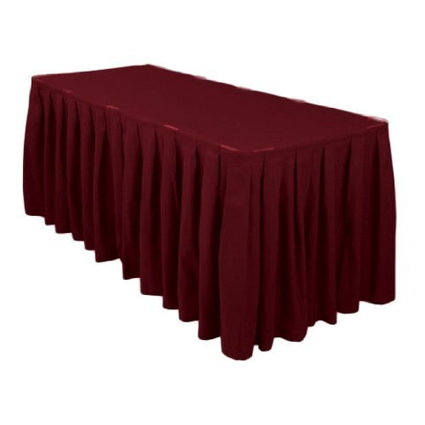 Linentablecloth 21 Ft. Accordion Pleat Polyester Table Skirt Burgundy