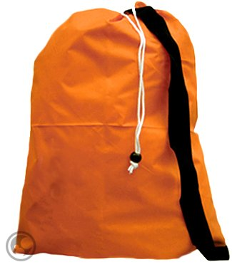 Small Laundry Bag With Drawstring, Carry Strap, Locking Closure, Color: Orange, Size: 22X28