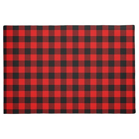 Rubber Front Floor Door Mats Traditional Red Black Buffalo Check Plaid Pattern Doormat Welcome Door Mats Indoor Outdoor