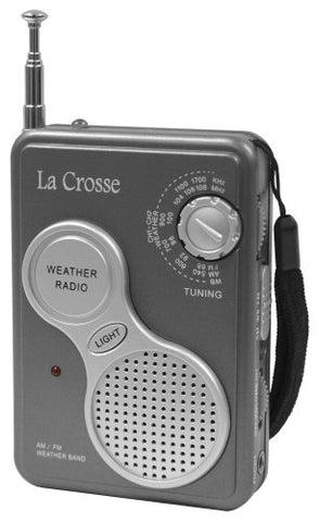 La Crosse Technology 809-905 Am/Fm Handheld Weather Radio With Noaa Weather Band Channels, Flashlight, Earphone Jack, And Included Hand Strap For Easy Transport
