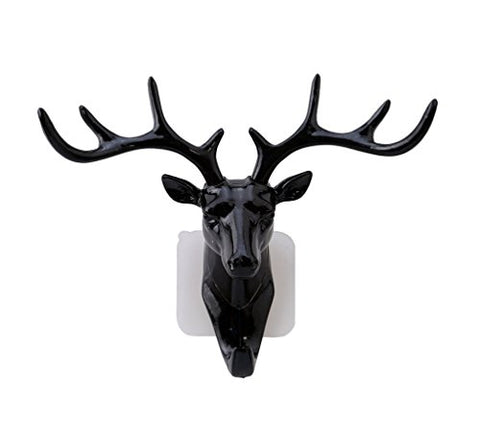Lalang Deer Head Self Adhesive Wall Door Hook Hanger Bag Keys Sticky Holder (Black)