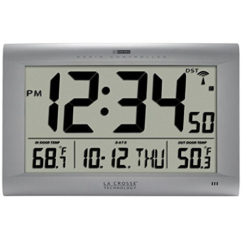 La Crosse Technology 513-1311Ot Jumbo Atomic Digital Wall Clock With Outdoor Temperature, Silver