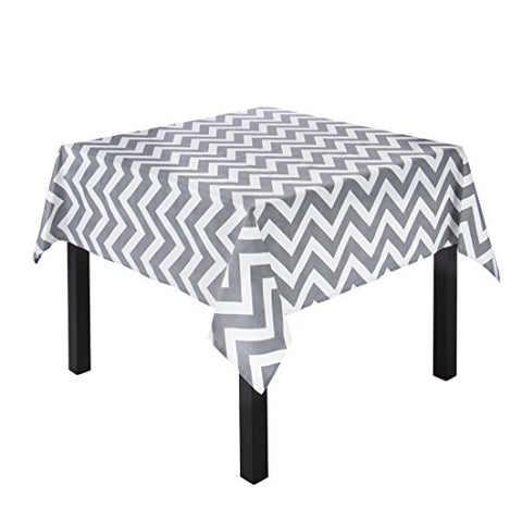 Linentablecloth Charcoal And White Chevron Square Cotton Tablecloth, 60-Inch