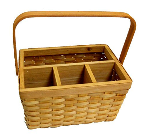 Wicker Woven Utensil Caddy Picnic Basket