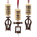 Kurt Adler 4.25  Resin Corkscrew Ornament 3/Asstd:  Friends Are The Wine Of Life ,  Wine Flies When Youre Having Fun  &  Friends & Wine The Older The Better .