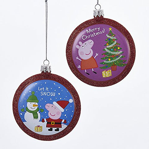 Kurt Adler 2 Assorted 86 Mm Peppa Pig And George Red Glitter Disc Christmas Ornaments