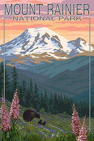 Mount Rainier National Park - Bear Family And Spring Flowers (9X12 Art Print, Wall Decor Travel Poster)