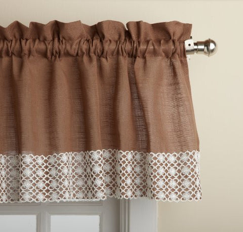 Lorraine Home Fashions Salem 60-Inch X 12-Inch Tailored Valance, Chocolate
