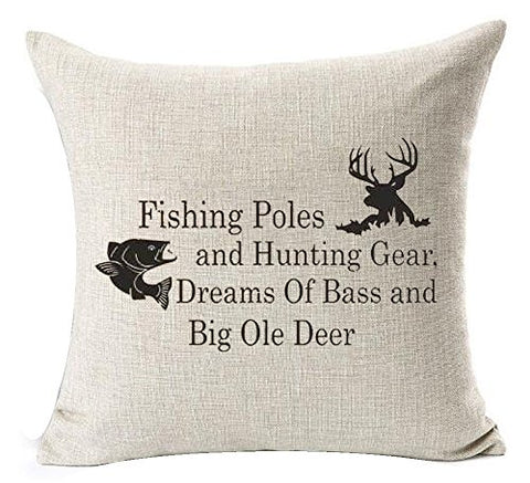 Nordic Simple Sayings Fishing Pole And Hunting Gear Deer Elk Cotton Linen Square Throw Waist Pillow Case Decorative Cushion Cover Pillowcase Sofa 18 X 18  (18''X18'', 1)