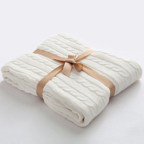 Prosshop Crocheted Blanket Handmade Super Soft Warm Twist Cotton Cable Knitting Throw Sleeping Cover Blanket Rug For Kids Or Adults Bedroom Sofa/Bed/Couch/Car/ Quilt Living Room/ Office (White)
