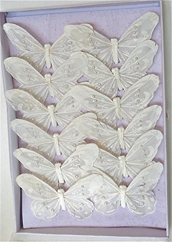 12Pc, Artificial Butterflies, White, Monarch, White Butterlies, With Pearls And Clip, 4.25 Inch Per 12 By Lamplight Feather Inc.