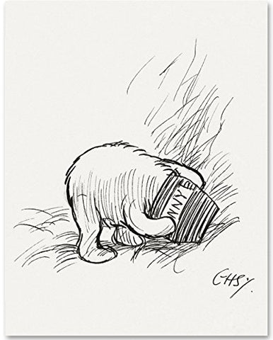 Stuck In A Honey Pot - Winnie The Pooh 11X14 Unframed Nursery Art Print
