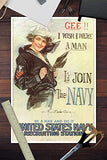 Us Navy Vintage Poster - Gee I Wish I Were A Man (12X18 Art Print, Wall Decor Travel Poster)