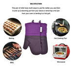 Silicone Oven Mitts Plaid Heat Resistant Cooking Gloves Non-Slip Grip Pot Holders For Kitchen Oven, Bbq Grill And Fire Pits Ideal For Cooking, Baking 7X13 Inch 1 Pair (Purple) By La Sweet Home