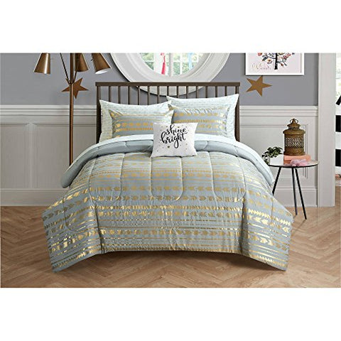 Camelia Metallic Arrows Bed In A Bag Bedding Set, Full Size