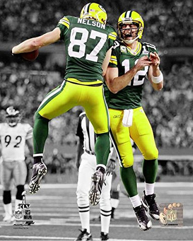 Aaron Rodgers & Jordy Nelson Super Bowl Xlv Spotlight Action Photo