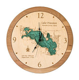 Lake Conroe In Montgomery Walker, Tx - 3D Clock 17.5 In - Laser Carved Wood Nautical Chart And Topographic Depth Map.