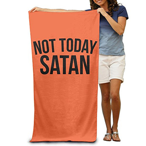 Not Today Satan Black Design Font Adult Beach Towels Funny Beach Towels Oversized Clearance