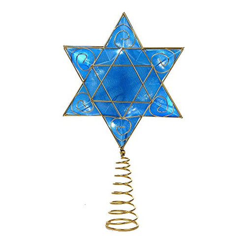 Kurt Adler 13 Gold And Blue Battery-Operated Lighted Deluxe Hanukkah Tree Topper