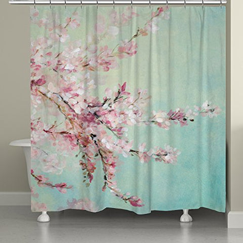 Laural Home Sfb74Sc Cherry Blossoms Shower Curtain, 71  X 72