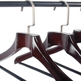 Lohas Home Extra Wide Rounded Shoulder Wooden Coat Hangers With No-Slip Bar, Walnut Finished