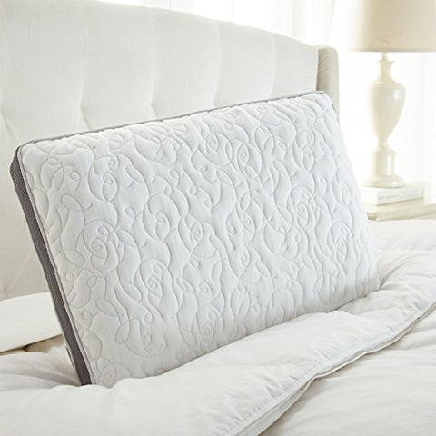 Perfect Cloud Double Airflow Memory Foam Pillow - Bed Pillow Featuring Ventilated Visco Foam, Gusset Siding, Washable Cover