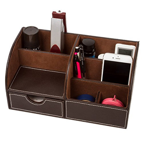 Home Desk Organizer Remote Control Holder Media Caddy Stationery Storage Box Collection With 7 Storage Compartments (Coffee)