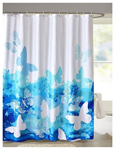 Lanmeng Fabric Shower Curtain, Artistic Dancing Butterfly , Blue White (72-By-72 Inches, 15)