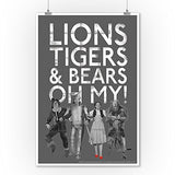 The Wizard Of Oz - Lions Tigers And Bears (9X12 Collectible Art Print, Wall Decor Travel Poster)