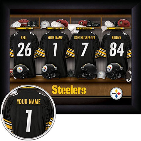 Pittsburgh Steelers Personalized Nfl Football Locker Room Jersey Framed Art Print 13X16 Inches