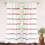 Driftaway Drift Away Pom Pom Ruffle Window Curtain, Single Panel, One Panel, 52X84 Plus 2 Header (Red)