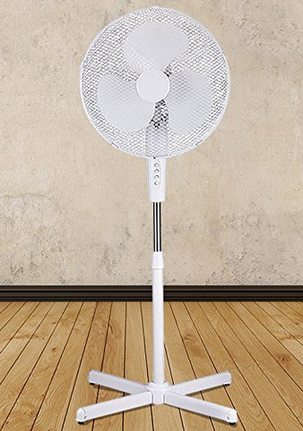 White 16 High Velocity Fan 3-Speed Oscillating Standing Floor Adjustable Height - New Modern Design