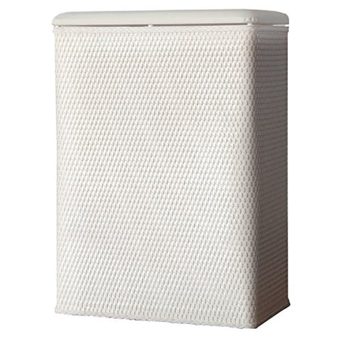 Lamont Home Carter Family Size Wicker Laundry Hamper With Coordinating Padded Vinyl Lid, White