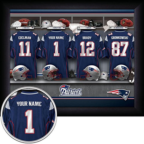 New England Patriots Personalized Nfl Football Locker Room Jersey Framed Art Print 13X16 Inches